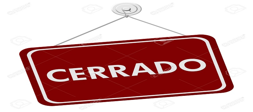 A red and white sign with the word Cerrado Closed isolated on a white background, Cerrado Closed Sign